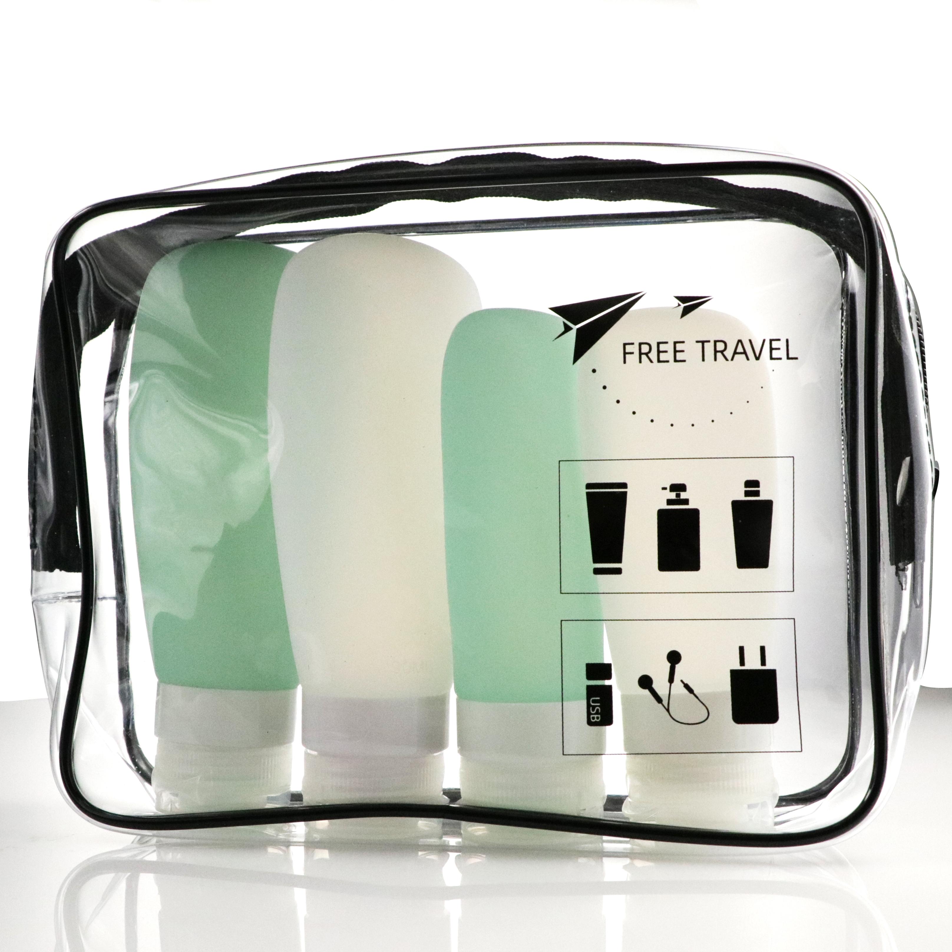 Новинка 2021, лидер продаж, базовый дорожный смарт-набор amazon, индивидуальный набор силиконовых бутылок для путешествий 89 мл, комплект для женщин