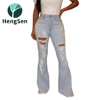 popular ripped design women jeans Clothes Vendor latest new look