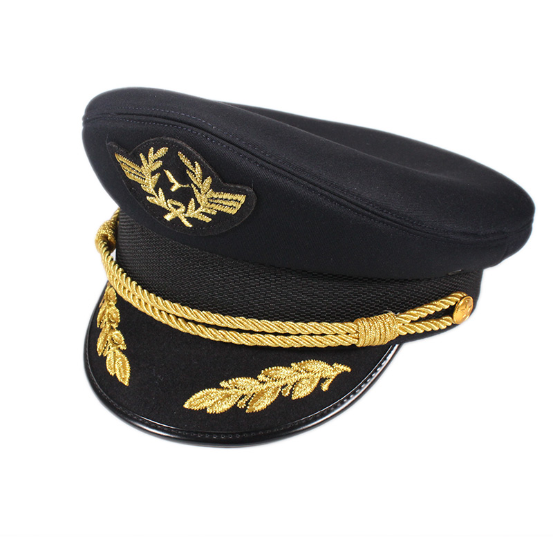 Custom style army police hat black military officer hat with embroidered label