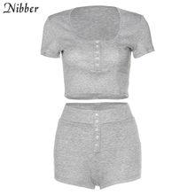 Nibber/серый облегающий мягкий минималистичный комплект из двух предметов для женщин, модель 2020 года, летний повседневный уличный женский уко...(Китай)