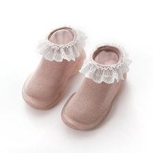 Детская противоскользящая обувь хлопковые нескользящие носки-тапочки для новорожденных и маленьких девочек домашние носки с резиновой по...(China)