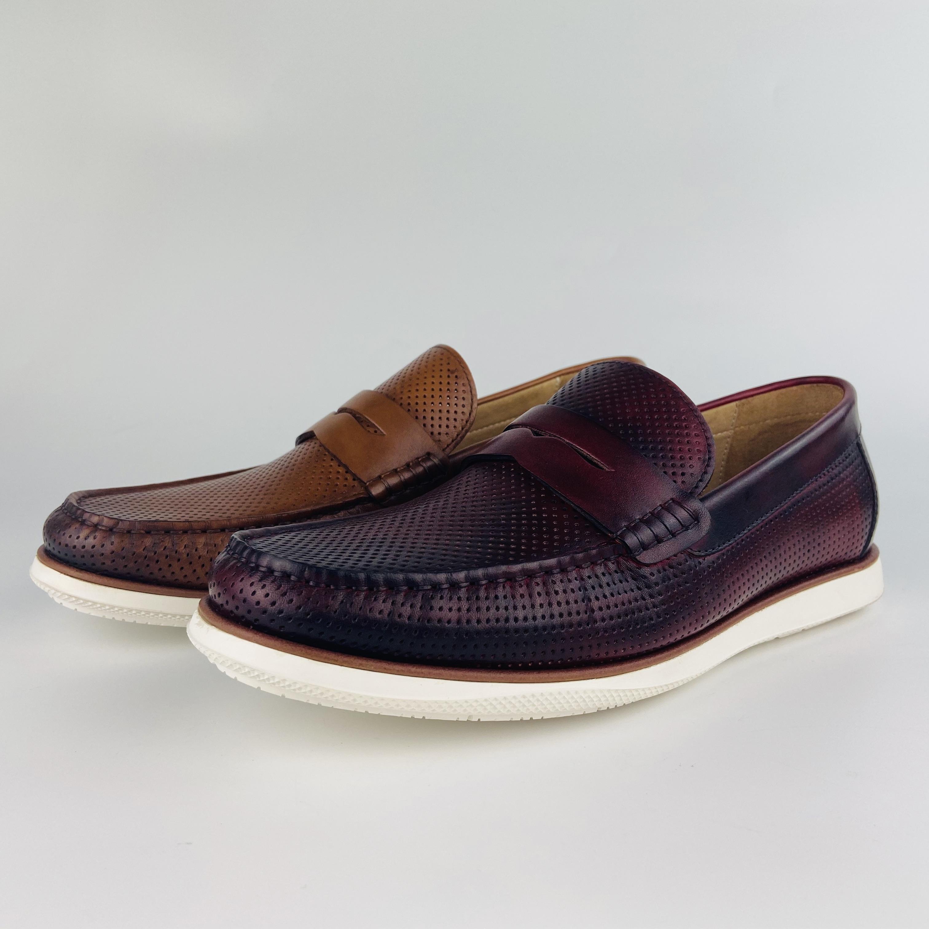 European trendy original leather men casual flat leather shoes