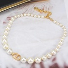 Pearl Bincho Chic Retro Collarbone Chain Big Small Pearl Letter CD Necklace Choker For Women