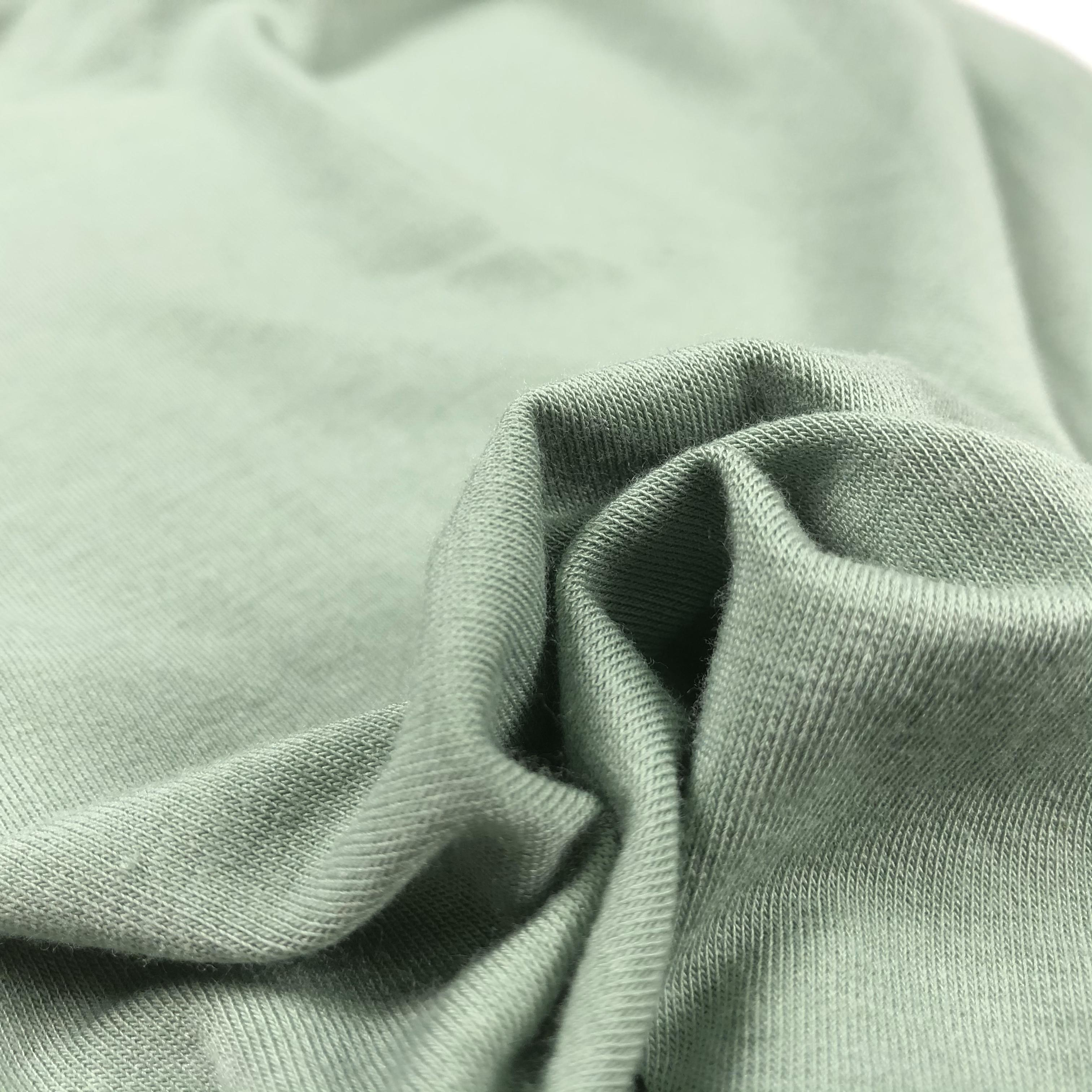 Regenerated cellulose jersey fabric knitted plain dyed stretch blended modal cotton fabric for Apparel T-shirts