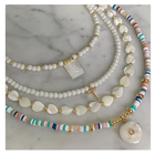 Wholesale natural freshwater pearl shell and colorful beads Choker Necklace for women