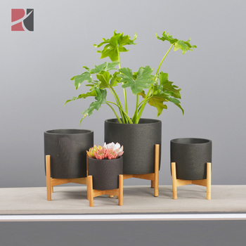 Mid Century Modern Concrete Plant Pot Indoor Decor Cement Flower Pots Planter with Bamboo Stand