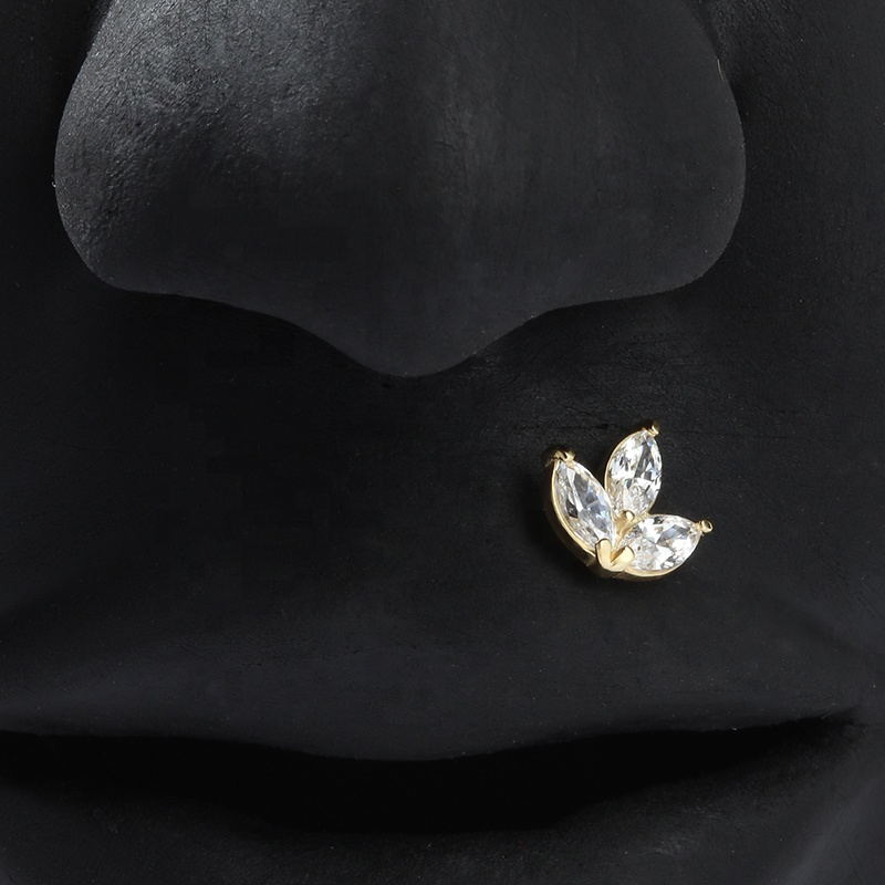 14K Solid Yellow Solid Gold Threadless Trio Marquise Top Ends Lip Labret Body Piercing Jewelry Wholsales