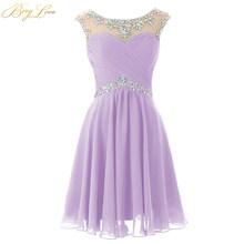 Короткое шифоновое платье для выпускного вечера, королевское голубое мини-платье с вырезом-замочком и бисером, платье для выпускного вечер...(Китай)