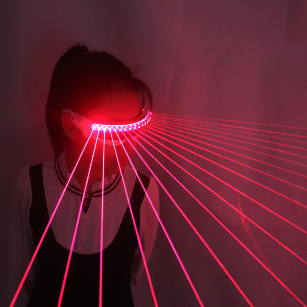 Красные лазерные очки для шоу диджея, очки с подсветкой, технология будущего, ночной клуб, светодиодное стекло, Хэллоуин, рождественские подарки, косплей