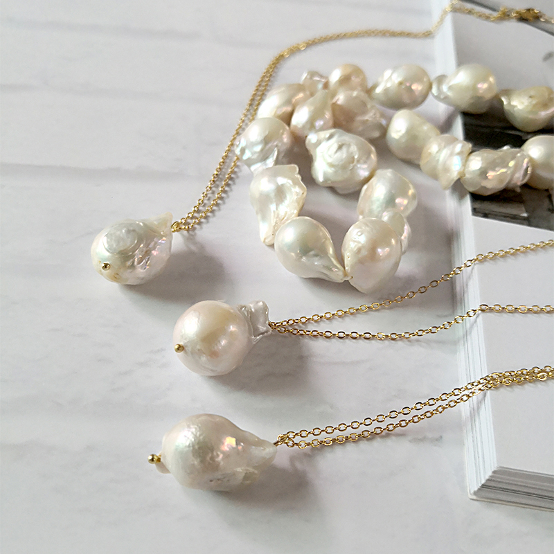 Large Pearl Necklace with Baroque Pendant