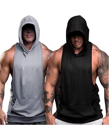 Мужские тренировочные майки с капюшоном, толстовки без рукавов для спортзала, Майки для бодибилдинга и без рукавов