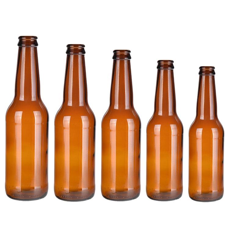330 мл стеклянная бутылка для пива Янтарный с крышкой