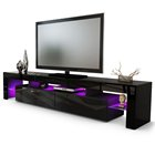 Amazing storage TV stand cabinet with storage and glass shelves for living room black white customized