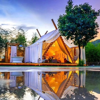 Tourle original design romantic waterproof wooden pole family tent canvas wall luxury glamping safari tent
