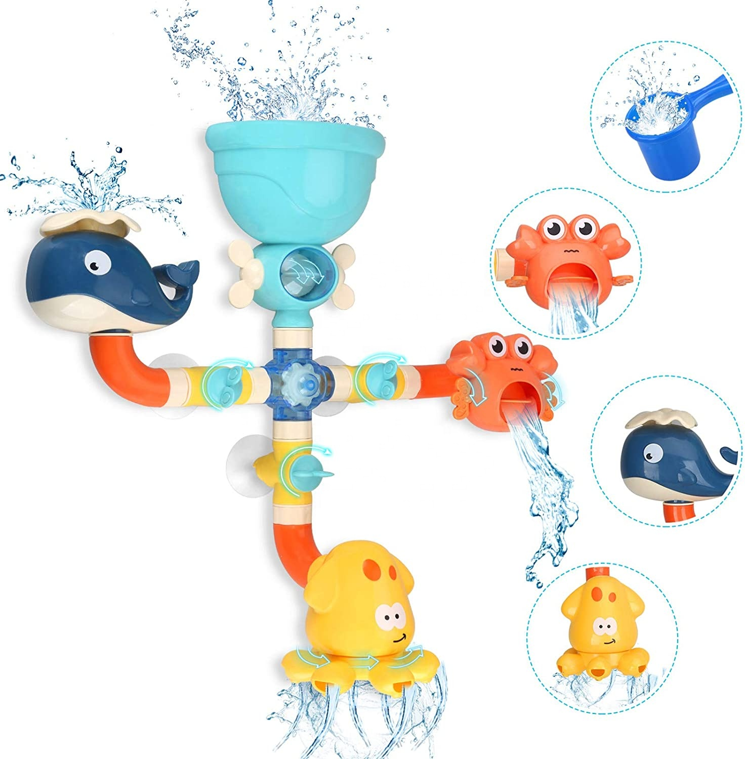 Baby DIY Pipes Tubes Bath Wall Toy Waterfall Fill Spin and Flow Bath Toys Bathtub Toys for 2 3 4 Year Old Kids Fun Birthday Gift
