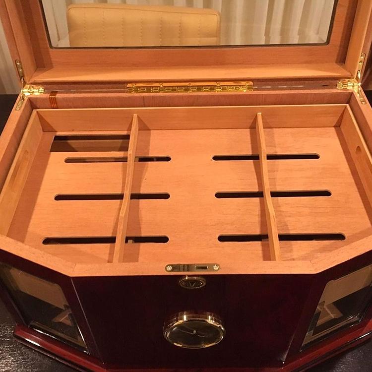 Rose placage cèdre en bois affichage commercial chancelier 300 compter plateau en verre cigare humidor