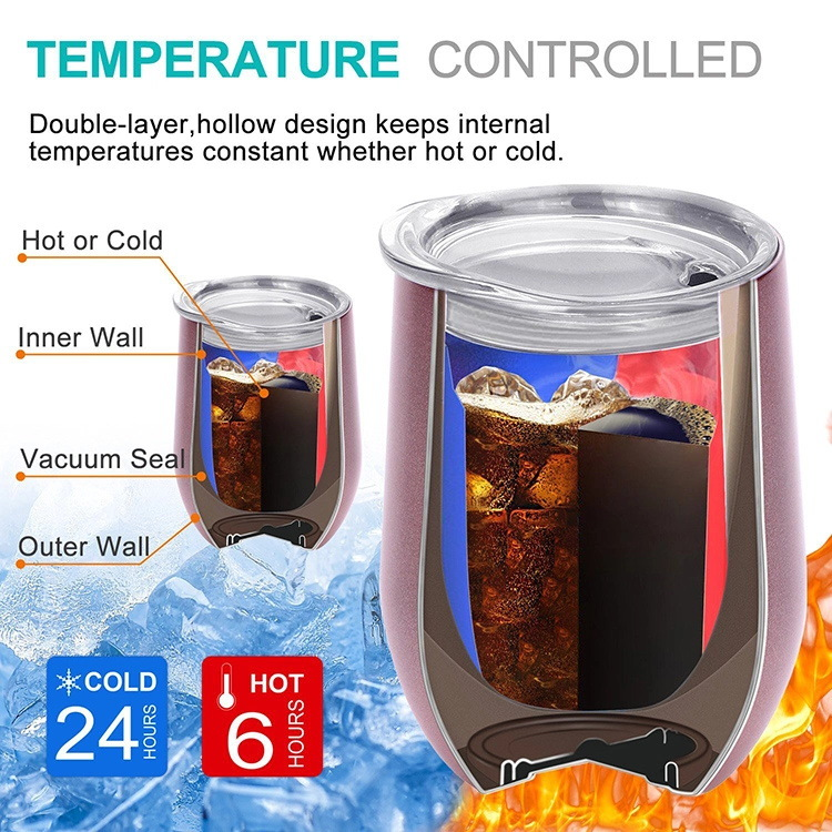 Wholesale stock many colors 350ml double walled vacuum insulated travel coffee mugs 12oz stainless steel wine tumbler with lid