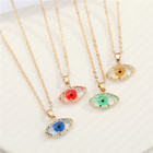Crystal Pendant Amazon Creative Design Colorful Glass Crystal Evil Eyes Pendant Necklace Eyes Shaped Transparent Necklace