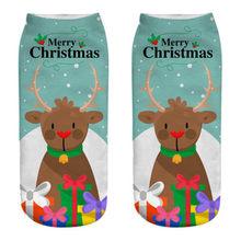 Мужские и женские рождественские носки, Прямые хлопковые носки с 3D-принтом оленя, деда мороза, снежинки, короткие носки, Чулочные изделия, 40 ^...(Китай)