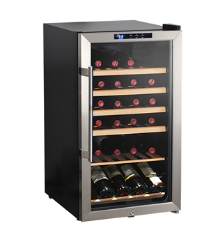 Free standing household 98L under counter glass door wine cooler wine cellar wine refrigerator with lock cave a vin