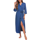Gown Women Robe Lightweight Bamboo Bathrobe Soft Ladies Loungewear Womens Dressing Gown Long Robes