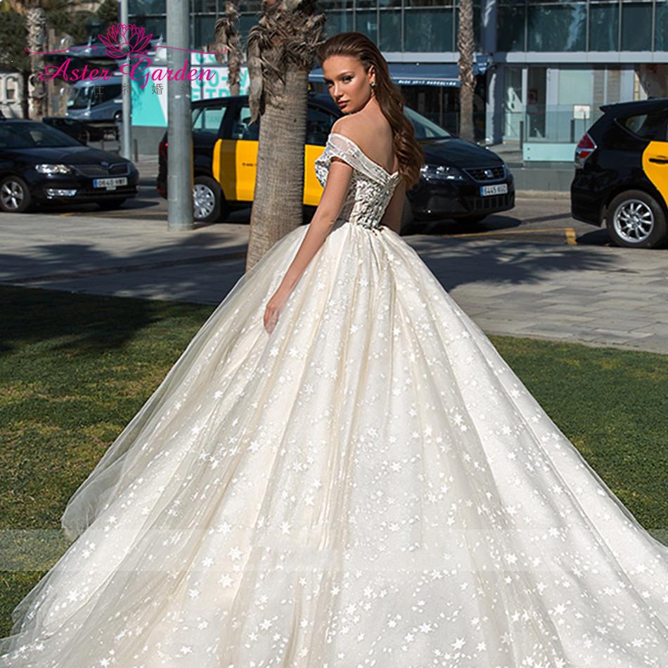 Женское кружевное бальное платье Aster garden, свадебное платье с открытой спиной, блестящее платье для невесты, 2021