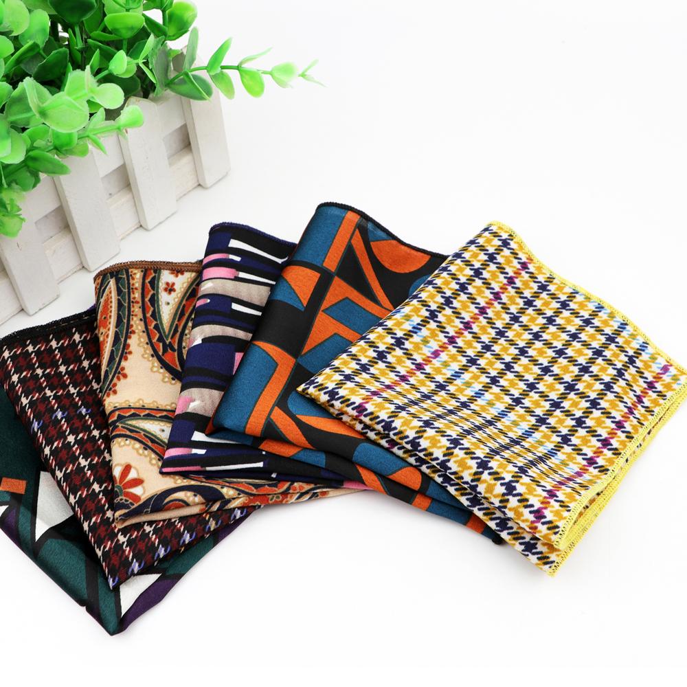 Шифоновый носовой платок Винтажный Мужской Карманный квадратный носовой платок из полиэстера полосатые геометрические шарфы