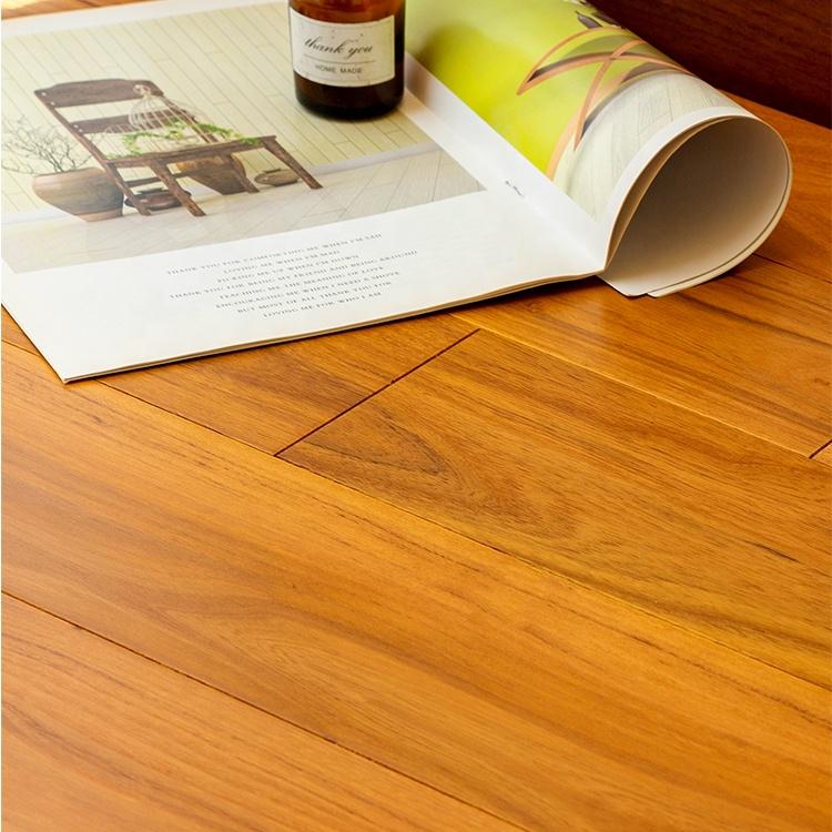 Household living room golden teak wood flooring