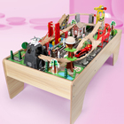Train Train 100 Pieces Wooden Puzzle DIY Building Block Toys Large Beech Train Track Set Toy