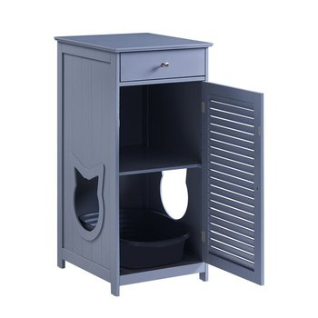 Modern design wholesale luxury wood pet cat furniture 1 drawer double layer litter toilet box
