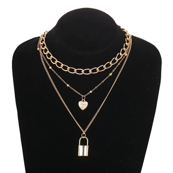 Most Popular Elements Gold Plated Multiple Chains Lock and Heart Pendent Layered Necklace for Women