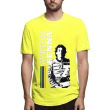 Мужская футболка с короткими рукавами, хлопковая Приталенная футболка с короткими рукавами и принтом автомобилей, Ayrton Senna, уличная одежда, ...(Китай)