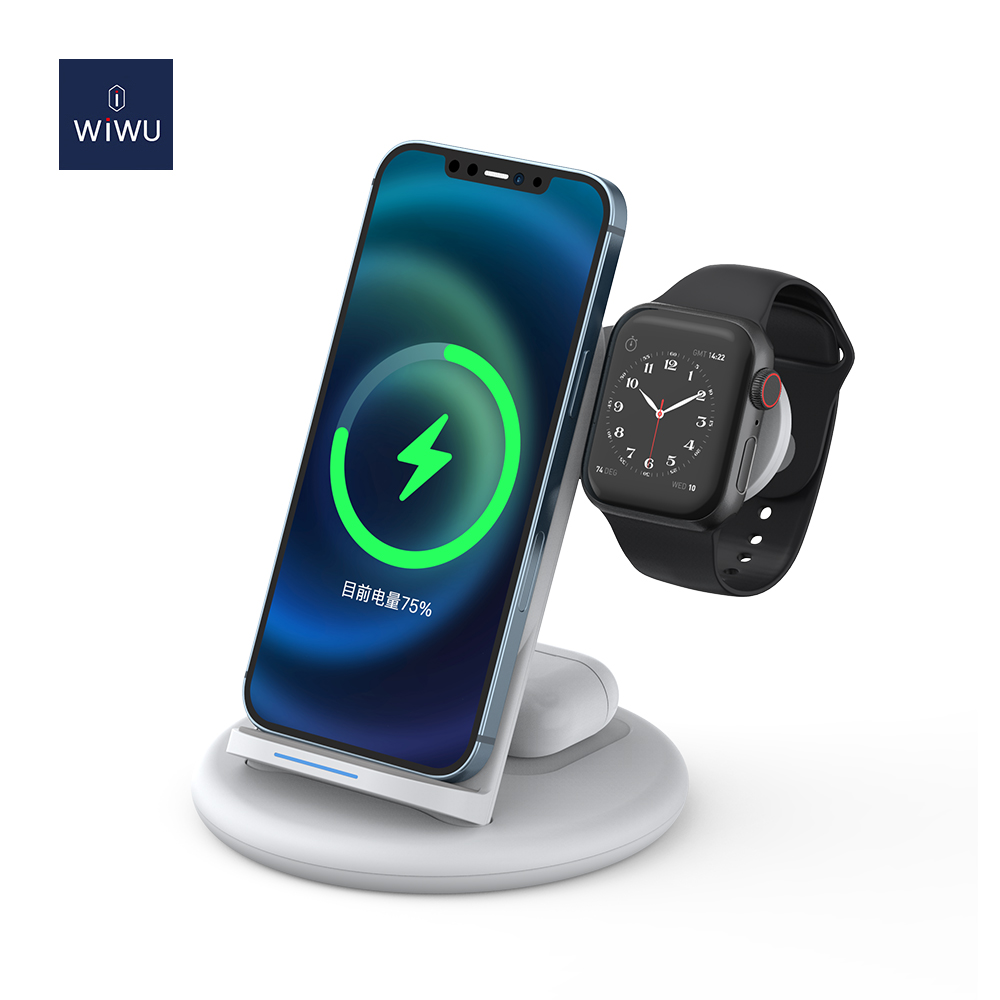 WiWU Wireless Charging Stand 3 in 1 Power Station 15W Fast Charger