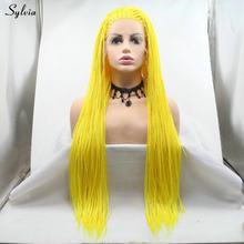 Женский термостойкий парик с розовым, красным, светлым, зеленым, ярко-желтым кружевом, синтетические плетеные косы(Китай)