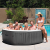 Construction Portable Octagonal Inflatable Hot Tub Spa with 140 Bubble Jets, Gray