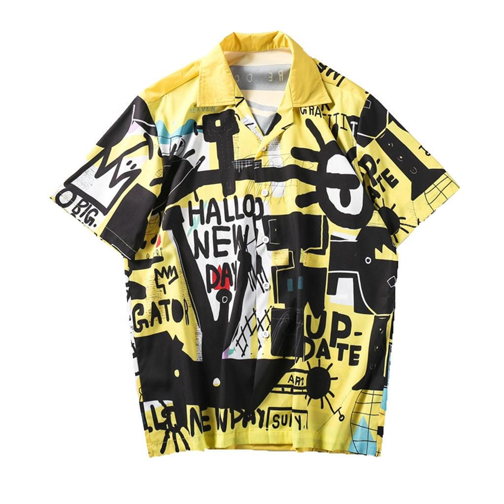 Free Sample Wholesale Clothes Custom Short Sleeve Silk Satin Printed Men Hawaiian Colorful  Shirt