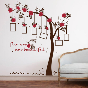 Red Flowers Black Tree Leaves Wall Sticker Photo Frame Wallpaper For Happy Family Home Decoration TV Background Wall Mural