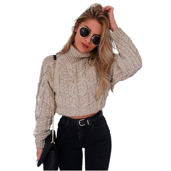 Autumn And Winter Turtleneck Knit Cropped Short Sweater Pullovers