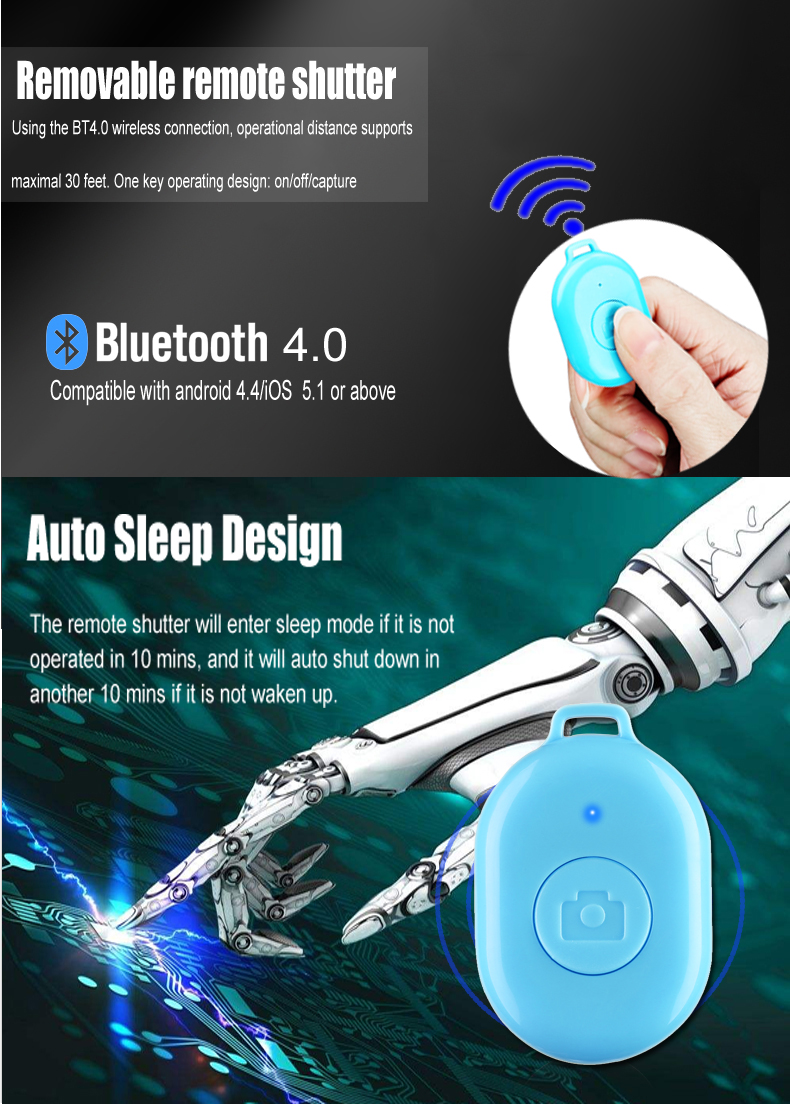 Sales ONE KEY Blue tooth wireless remote control shutter for Mobile phone camera (5 colours)