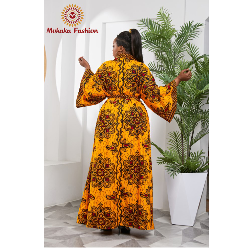 2021 New African Spring Fashion New Design Ankara Print Women Long Flare Sleeve  Maxi Kimono