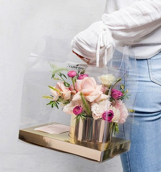 Luxury gold flower box set with a thank you card transparent flower box clear