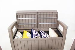 Garden Armrest Bench Plastic Large Capacity Storage Box Storage Bench for Backyard Courtyard Garden Patio Indoor Outdoor