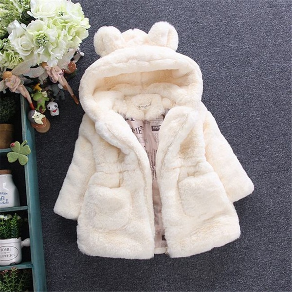 Winter Baby Kids Girls Cute Bunny Coat Fleece Jacket Fur Hooded Thick Warm Jacket Outerwear Princess Clothes
