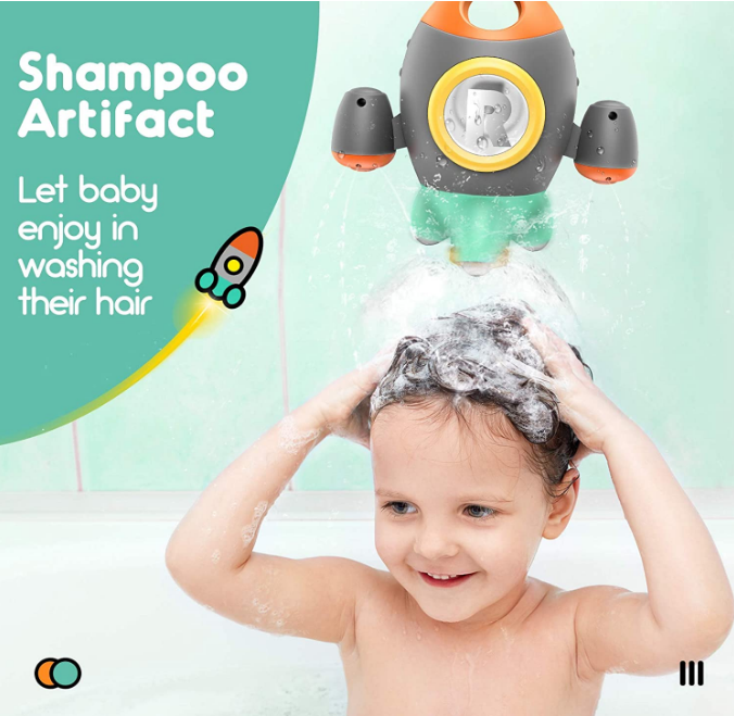 Space Rocket bathtub toy Rotating Spray Water bath toys for kids boys girls Toddlers Birthday gifts