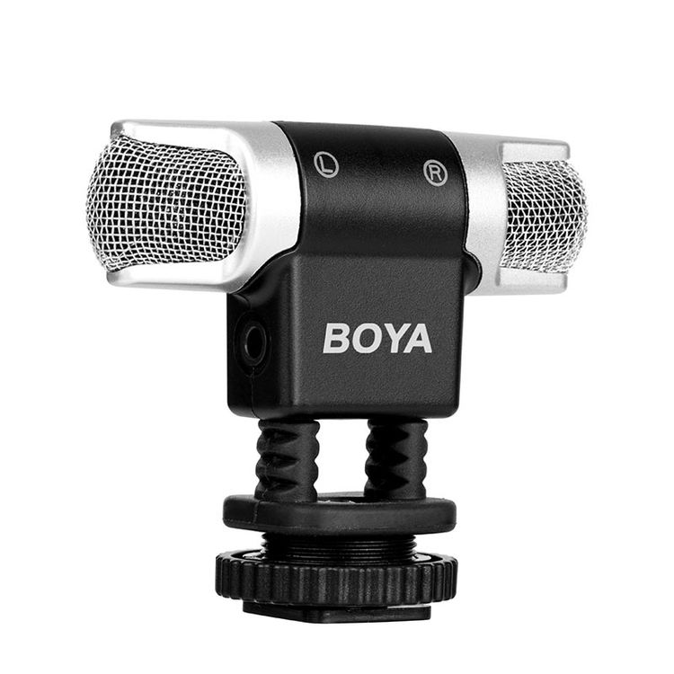 BOYA BY-MM3 Dual Head Professional Omni directional Stereo Microphone For iPhone Android Smartphones DSLR Camera and Camcorder