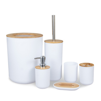 Wholesale bamboo plastic 6 pieces white washroom set bathroom accessories bathroom sets bamboo