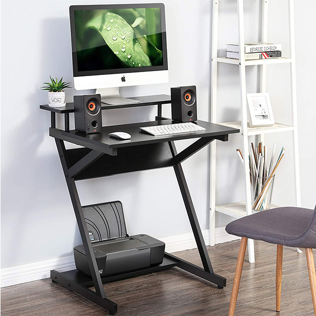 Gaming Laptop Table Small Computer Desk with Shelf Study Writing Desk for Small Spaces