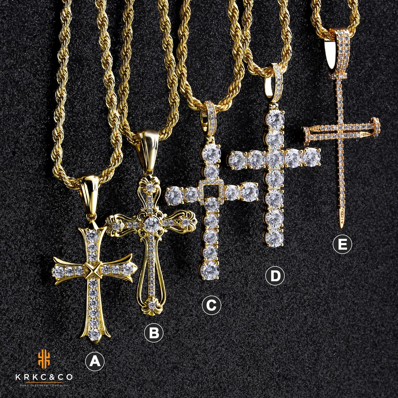 Krkc Bling кубический цирконий бриллиант подвеска медальон крестик Мужская обувь; Серебряный цвет; 14k, 18k, позолота, нержавеющая сталь, крест кулон
