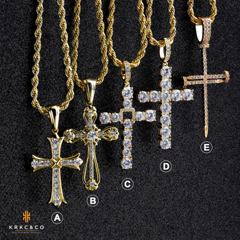 KRKC Bling Iced Out Cubic Zirconia Diamond Cross Necklace Pendant Mens Silver 14k 18k Gold Plated Stainless Steel Cross Pendant