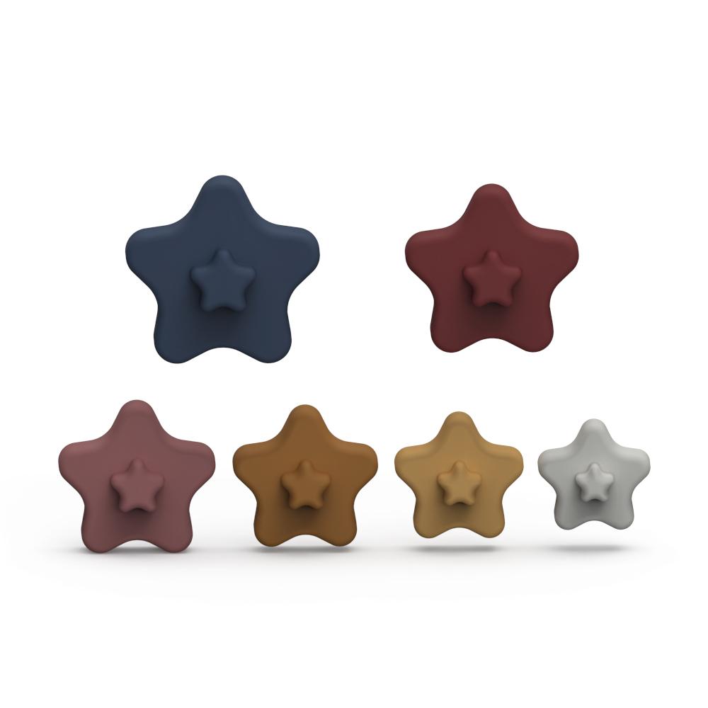 Оптовая продажа с завода, 100%, пищевой силикон без бисфенола А, форма звезды, силиконовая игрушка для детей